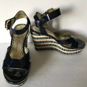 Juicy Couture Blue Wedge Sandals Size 8